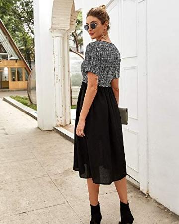 X&Armanis Temperament Sommerkleid, Retro Kariertes nähen Kleid sexy V-Ausschnitt Kleid,schwarz,L - 4