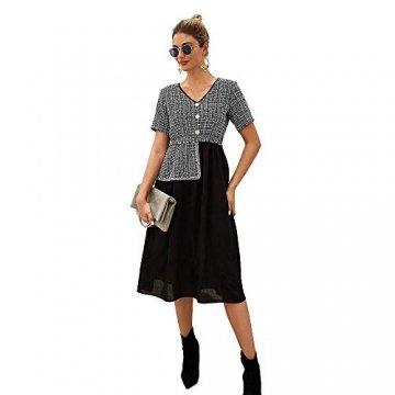 X&Armanis Temperament Sommerkleid, Retro Kariertes nähen Kleid sexy V-Ausschnitt Kleid,schwarz,L - 1