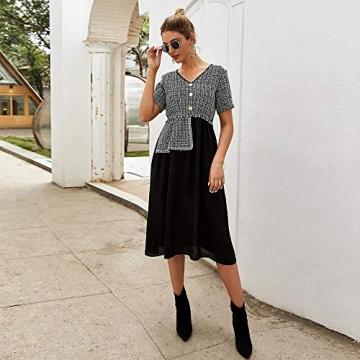 X&Armanis Temperament Sommerkleid, Retro Kariertes nähen Kleid sexy V-Ausschnitt Kleid,schwarz,L - 5