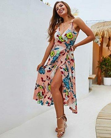 X&Armanis Trägerkleid, sexy V-Ausschnitt Kleid gedruckt Sommerkleid Langer Absatz in Schlinge gedruckt,Koralle,S - 2