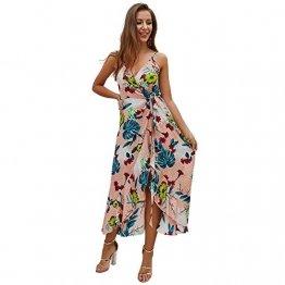 X&Armanis Trägerkleid, sexy V-Ausschnitt Kleid gedruckt Sommerkleid Langer Absatz in Schlinge gedruckt,Koralle,S - 1