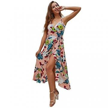 X&Armanis Trägerkleid, sexy V-Ausschnitt Kleid gedruckt Sommerkleid Langer Absatz in Schlinge gedruckt,Koralle,S - 4