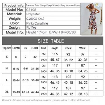 X&Armanis Trägerkleid, sexy V-Ausschnitt Kleid gedruckt Sommerkleid Langer Absatz in Schlinge gedruckt,Koralle,S - 5