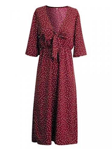 Yidarton Sommerkleid Damen V-Ausschnitt Polka Dot Midikleid Knielänge Vintage Boho Kurzarm Strandkleider (Rot, S) - 4
