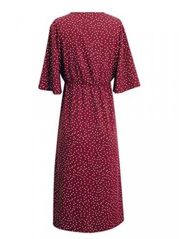 Yidarton Sommerkleid Damen V-Ausschnitt Polka Dot Midikleid Knielänge Vintage Boho Kurzarm Strandkleider (Rot, S) - 5