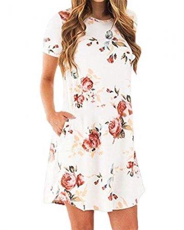 YOINS Damen Kleider Tunika Tshirt Kleid Kurzarm MiniKleid Sommerkleid für Damen Brautkleid Maxikleid Rundhals - 3