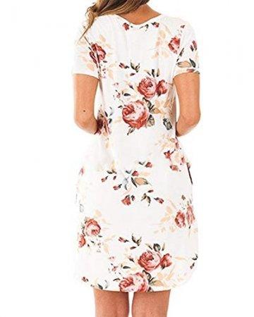 YOINS Damen Kleider Tunika Tshirt Kleid Kurzarm MiniKleid Sommerkleid für Damen Brautkleid Maxikleid Rundhals - 4