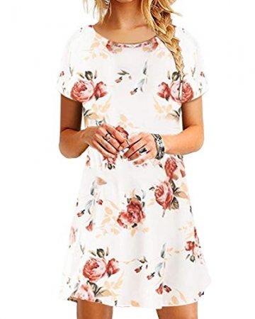 YOINS Damen Kleider Tunika Tshirt Kleid Kurzarm MiniKleid Sommerkleid für Damen Brautkleid Maxikleid Rundhals - 1