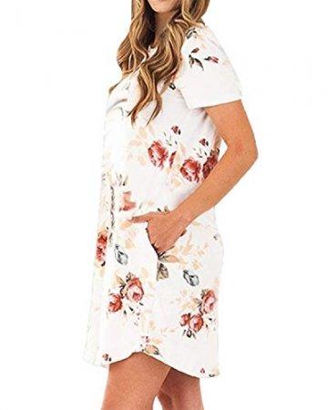 YOINS Damen Kleider Tunika Tshirt Kleid Kurzarm MiniKleid Sommerkleid für Damen Brautkleid Maxikleid Rundhals - 5