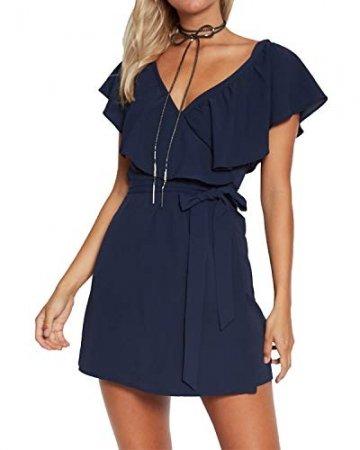 YOINS Kleid Damen Sommer Kurz V-Ausschnitt Schulterfrei Kleider Elegant Strandkleider Minikleid Partykleider - 1