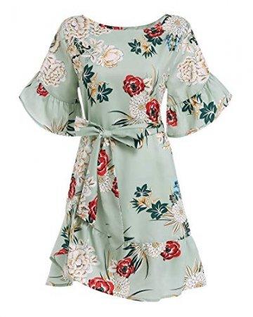 YOINS Sommerkleid Damen Kleider Rundhals Blumenmuster Kleid Elegant Kurz Hohe Taillen Minikleid Partykleid Strandmode - 3