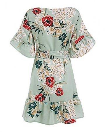 YOINS Sommerkleid Damen Kleider Rundhals Blumenmuster Kleid Elegant Kurz Hohe Taillen Minikleid Partykleid Strandmode - 4