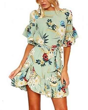 YOINS Sommerkleid Damen Kleider Rundhals Blumenmuster Kleid Elegant Kurz Hohe Taillen Minikleid Partykleid Strandmode - 1