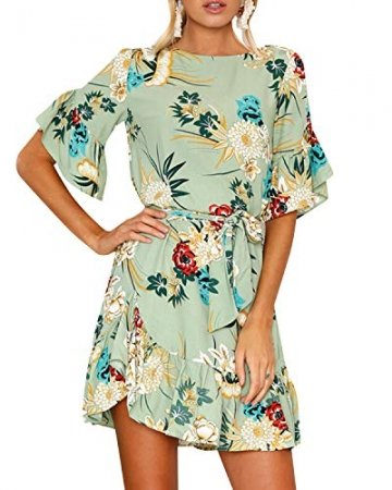 YOINS Sommerkleid Damen Kleider Rundhals Blumenmuster Kleid Elegant Kurz Hohe Taillen Minikleid Partykleid Strandmode - 5