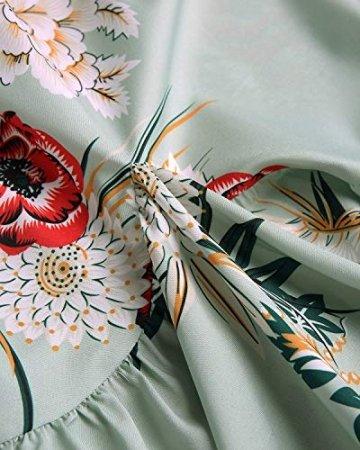 YOINS Sommerkleid Damen Kleider Rundhals Blumenmuster Kleid Elegant Kurz Hohe Taillen Minikleid Partykleid Strandmode - 6