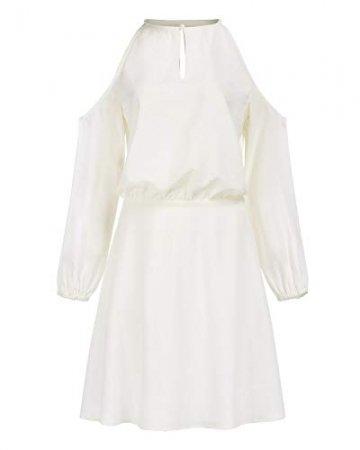 YOINS Sommerkleid Damen Kurz Schulterfrei Kleid Elegante Kleider für Damen Strandmode Langarm Neckholder A Linie Weiß-1 EU36-38(Kleiner als Reguläre Größe) - 5