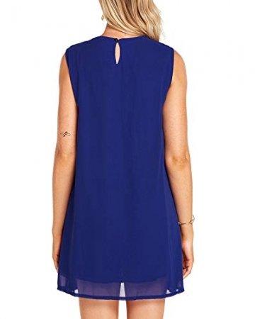 YOINS Sommerkleid Damen Kurze Elegant Strandkleid Schulterfrei Blumenmuster Sexy Kleid Ärmellos Minikleider Blau L - 2