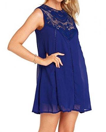 YOINS Sommerkleid Damen Kurze Elegant Strandkleid Schulterfrei Blumenmuster Sexy Kleid Ärmellos Minikleider Blau L - 4