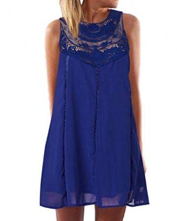YOINS Sommerkleid Damen Kurze Elegant Strandkleid Schulterfrei Blumenmuster Sexy Kleid Ärmellos Minikleider Blau L - 1