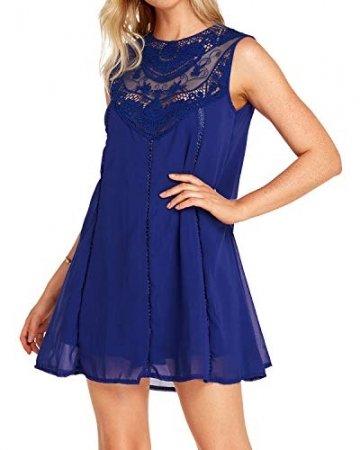 YOINS Sommerkleid Damen Kurze Elegant Strandkleid Schulterfrei Blumenmuster Sexy Kleid Ärmellos Minikleider Blau L - 5