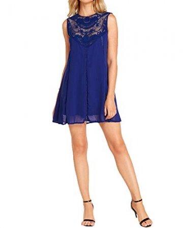 YOINS Sommerkleid Damen Kurze Elegant Strandkleid Schulterfrei Blumenmuster Sexy Kleid Ärmellos Minikleider Blau L - 6
