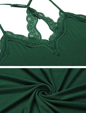 Skione Damen Sexy Negligee Spitze Nachthemd Kurz Nachtwäsche Nachtkleid Sommer V-Ausschnitt Schlafshirt Babydoll Unterkleid Sleepwear, B Dunkelgrün, M - 2