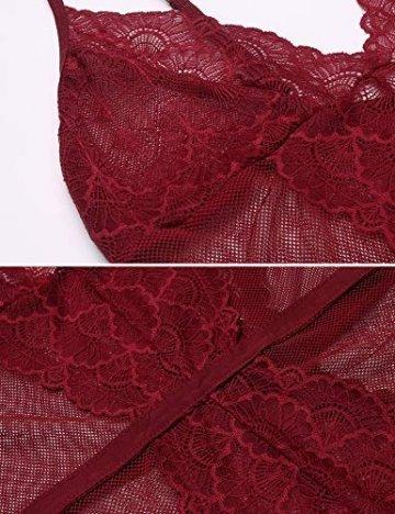 Damen Dessous Set Ungefüttert Bralette Unterwäsche Floral Spitze BH und Slips Strumpfband Set Erotik Reizwäsche S Rot - 4