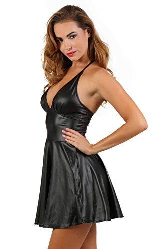 Miss Noir Wetlook Damen Kleid V-Ausschnitt Rückenfreies Partykleid Exklusives Clubwear,Schwarz,XXL - 2