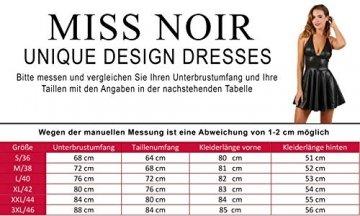 Miss Noir Wetlook Damen Kleid V-Ausschnitt Rückenfreies Partykleid Exklusives Clubwear,Schwarz,XXL - 4
