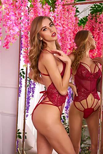 ADOME Damen Sexy Bodys Negligee Spitze Babydoll Push-up Nachtwäsche Erotik Dessous Set Unterwäsche Lingerie Bademantel Nachthemd Transparente Reizwäsche - 6