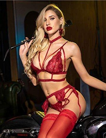 ADOME Erotische Dessous-Set Damen Reizwäsche 4-TGL Erotik Strapse Set Unterwäsche Sexy Spitze BH und Slip Strumpfband für Damen - 5