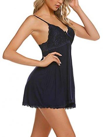 ADOME Negligee Sexy BH Babydoll Nachtwäsche Sleepwear Nachthemd für Damen Spitze Nachtkleid Dessous mit Spitzendetail - 6
