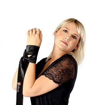 Selente Love & Fun verführerisches 2-teiliges Damen Dessous-Set aus Body & exklusiver Satin-Augenbinde, Made in EU, schwarz-Wetlook, Gr. L/XL - 2
