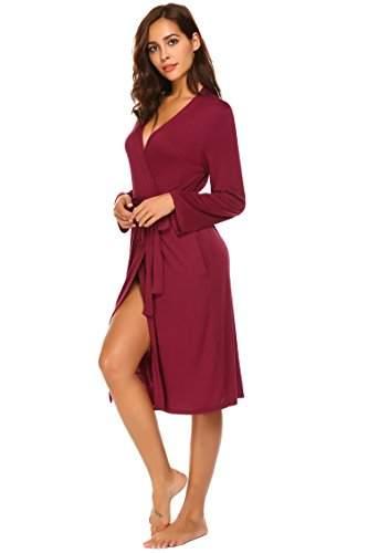 ADOME Damen Bademantel Morgenmantel Robe Saunamantel mit V Ausschnitt Lang Reisebademantel Kimono Pyjama für Herbst Winter Frauen - 3
