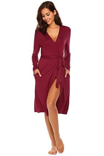 ADOME Damen Bademantel Morgenmantel Robe Saunamantel mit V Ausschnitt Lang Reisebademantel Kimono Pyjama für Herbst Winter Frauen - 1