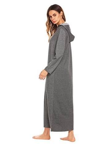 ADOME Damen Lang Morgenmantel mit Kapuze Bademantel Reißverschluß Saunamantel Weiche Gemütliche Robe - 7