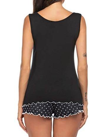 ADOME Damen Pyjama Set Rundhals Ärmellos Nachthemd mit Shorts Sleepwear Bekleidung Negligee Nachtwäsche Schlafanzüge für Frauen schwarz XXL - 4