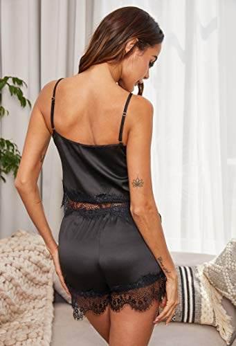 ADOME Damen Schlafanzug Ärmellos Satin Pyjama Set Spitze Nachthemd mit Shorts Nachtwäsche Kurz Sleepwear Bekleidung Negligee Set Schlafanzüge für Frauen - 3