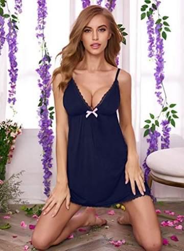ADOME Damen Sexy Negligee Babydoll Nachtwäsche Spitze Dessous Kleid Baumwolle Nachthemd Lingerie Nachtkleid Reizwäsche - 4