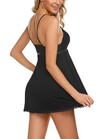 ADOME Negligee Sexy BH Babydoll Nachtwäsche Nachthemd für Damen Spitze Nachtkleid Dessous mit Spitzendetail,Schwarz,M - 4
