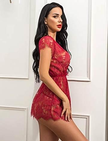 ADOME Reizwäsche Dessous-Sets Lingerie Damen Sexy V-Ausschnitt Nachthemd Spitze Negligee Unterwäsche Set Erotik Sleepwear Kleid,Awein Rot,M - 4