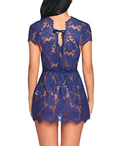 ADOME Reizwäsche Dessous-Sets Lingerie Damen Sexy V-Ausschnitt Nachthemd Spitze Negligee Unterwäsche Set Erotik Sleepwear Kleid - 5