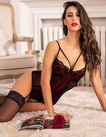 ADOME Reizwäsche Sexy Dessous Strapsen Lingerie Damen Body Erotische Unterwäsche Frauen mit Strapsgürtel - 3