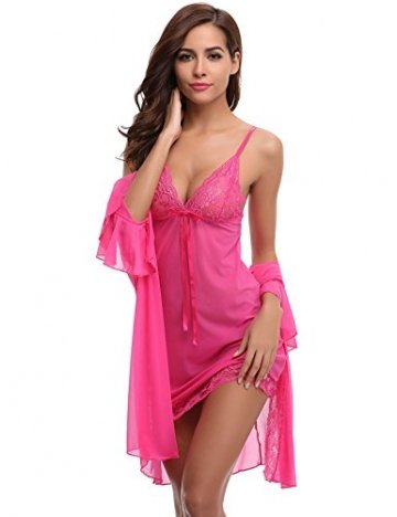 Aibrou Damen Sexy Reizwäsche Babydoll Dessous Chemise Spitze Nachthemd Lingerie Negligee Kimono Zwei Stücke Sleepwear Nachtwäsche Trägerkleid mit G String Rosa M - 1