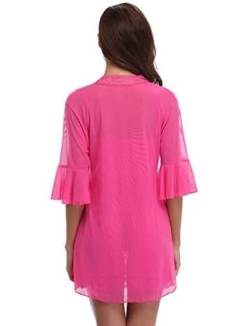 Aibrou Damen Sexy Reizwäsche Babydoll Dessous Chemise Spitze Nachthemd Lingerie Negligee Kimono Zwei Stücke Sleepwear Nachtwäsche Trägerkleid mit G String Rosa M - 5