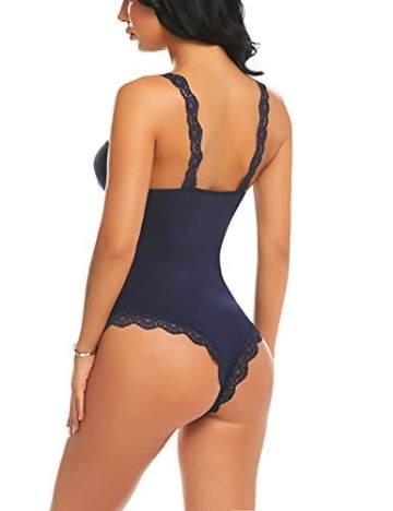 Avidlove Damen Body Sexy Dessous Spitze Reizwäsche Bodysuit V-Ausschnitt Nachthemd Body Unterwäsche Lingerie Top Einteiliger Negligee Oberteil - 4