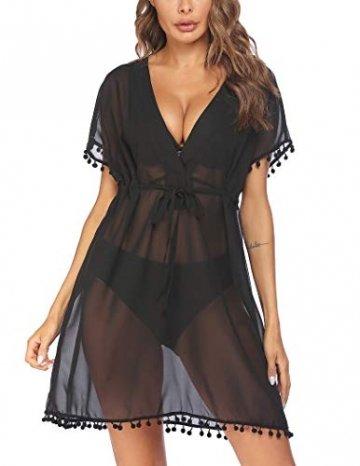 Avidlove Damen Chiffon Strandkleid Solide Sommerkleid Kurzarm Tief V-Ausschnitt Strand Kleid Boho Einfarbig Damen Strandkleider Schwarz XXL - 1