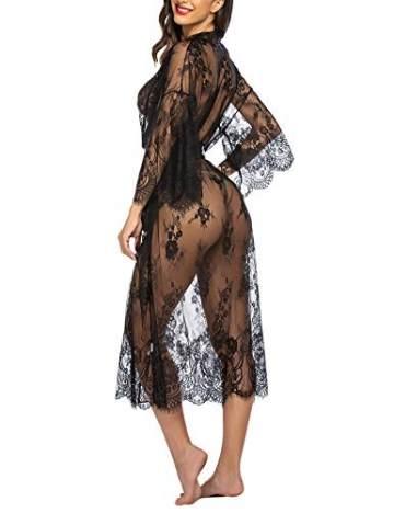 Avidlove Damen Dessous Kleid Lang Kimono Spitze Negligee Nachtwäsche Transparente Robe Set Cardigan mit Gürtel und G-String Bikini Cover up Schwarz S - 6