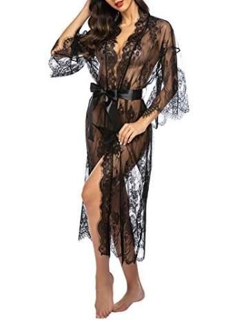 Avidlove Damen Dessous Kleid Lang Kimono Spitze Negligee Nachtwäsche Transparente Robe Set Cardigan mit Gürtel und G-String Bikini Cover up Schwarz S - 3
