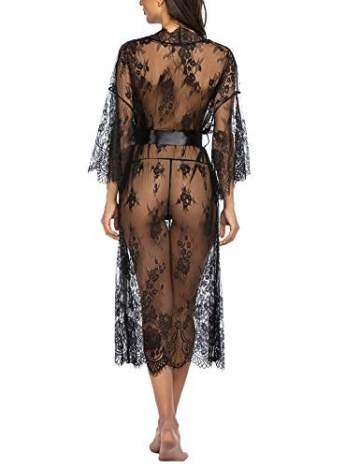 Avidlove Damen Dessous Kleid Lang Kimono Spitze Negligee Nachtwäsche Transparente Robe Set Cardigan mit Gürtel und G-String Bikini Cover up Schwarz S - 4